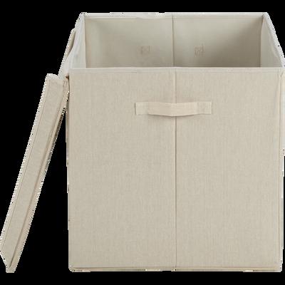 Boîte de rangement en lin beige 60x42x42cm-AGAPANTHE