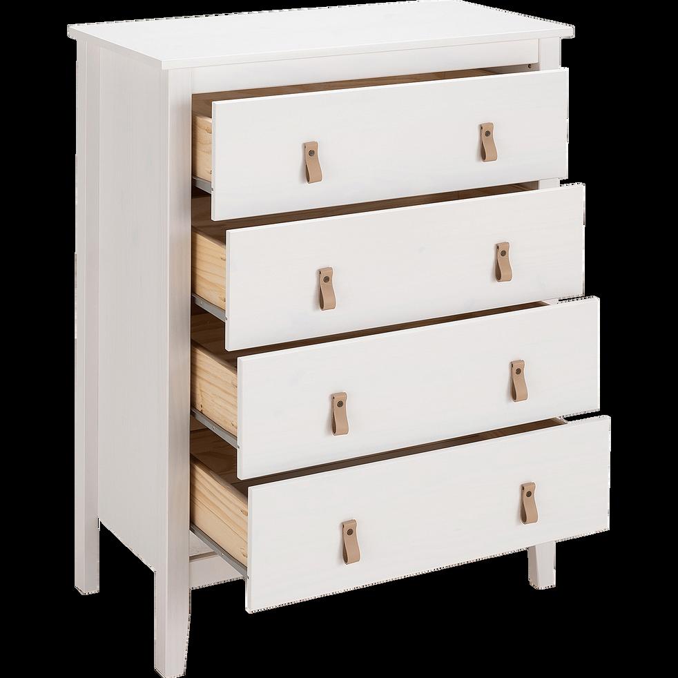 Commode 4 tiroirs blanc avec structure et façade en pin massif-LISON