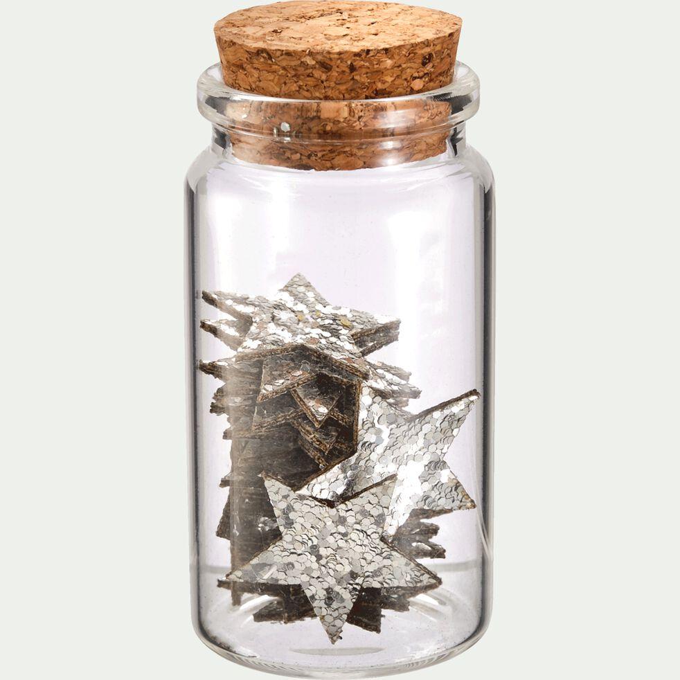 Boîte d'étoiles déco 0,1x2,5x2,6cm en tissu - argent métallisé-NOVA
