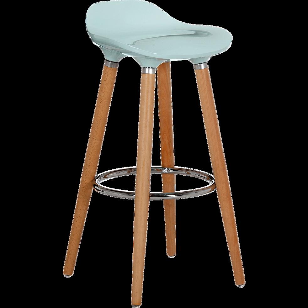 tabouret de bar avec pieds en hêtre massif bleu - jade - chaises et