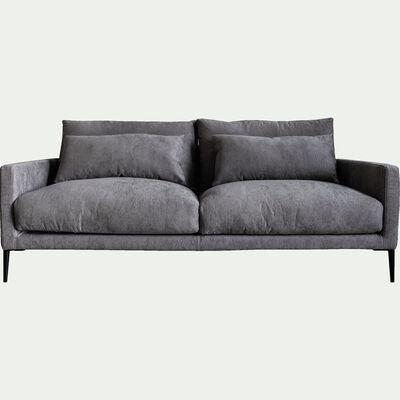 Canapé 3 places fixe en tissu gris borie-SOZY