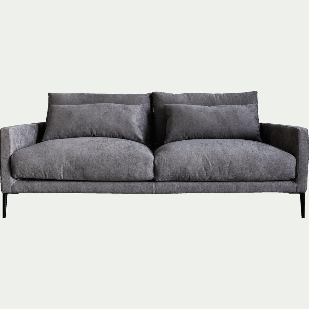 Canapé 3 places fixe en tissu - L190xH80xP104 cm gris borie-SOZY