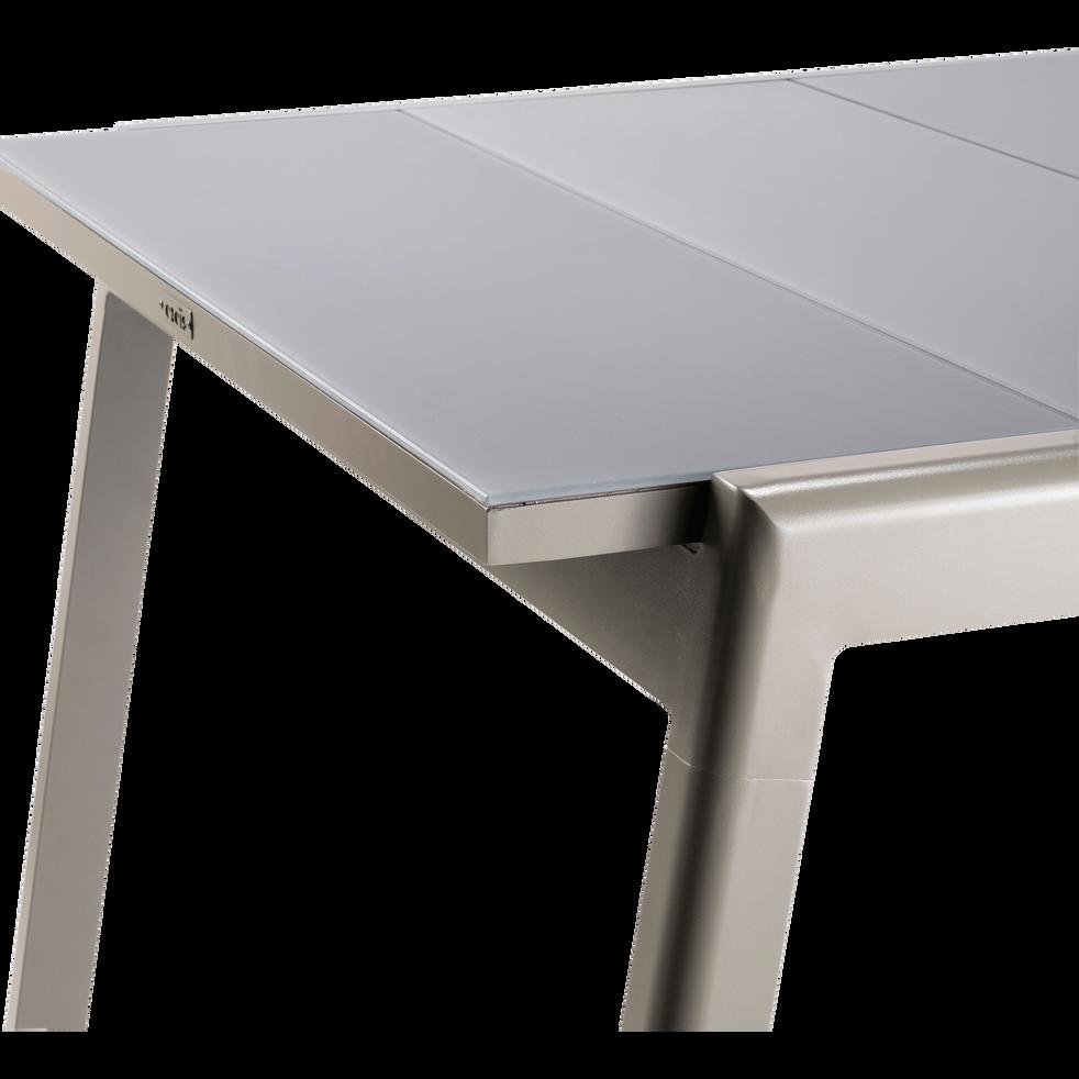 LYO - Table de jardin extensible kaki en verre trempé et aluminium (6 à 10  places)