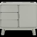 Buffet rétro vert olivier 1 porte et 3 tiroirs-AUBUN