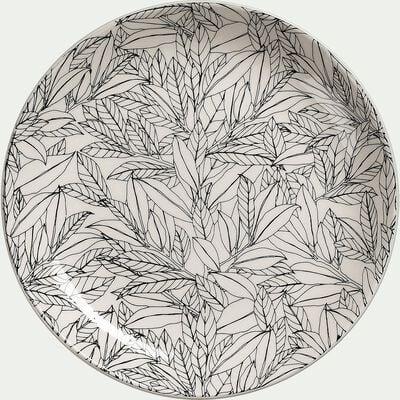 Assiette à dessert en porcelaine motifs laurier - vert d20,8cm-AIX