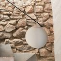 Suspension en verre opaque et métal - blanc D20cm-MARCELINO