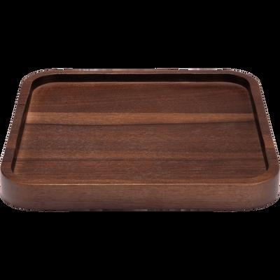 Plateau carré en bois de noyer 20x20cm-FLORA