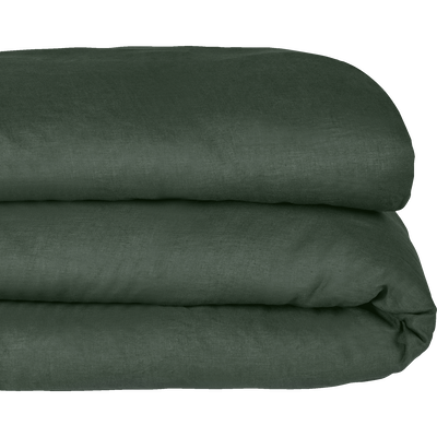 Housse de couette en lin Vert cèdre 260x240cm-VENCE