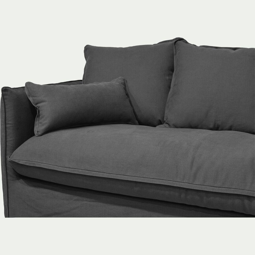 Canapé 3 places fixe en coton et lin - gris ardoise-KALISTO