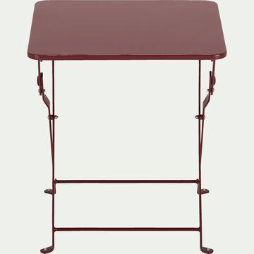 Table basse de jardin pliante rouge sumac en acier-CERVIONE