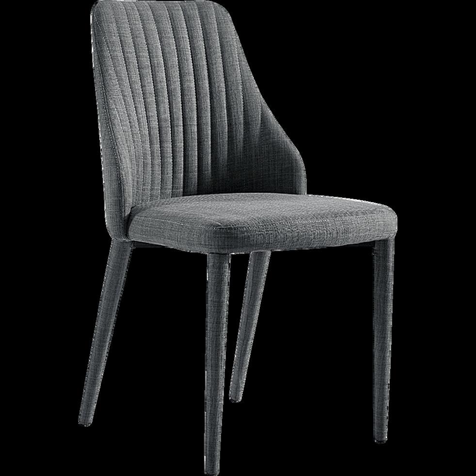 Chaise matelassée en tissu gris foncé-ANEMONE