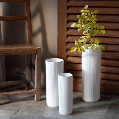 Vase en céramique blanc D15xH44cm-RETA