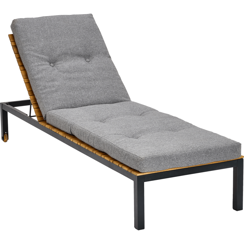 bain de soleil en bois et matelas gris aca jardin alinea. Black Bedroom Furniture Sets. Home Design Ideas