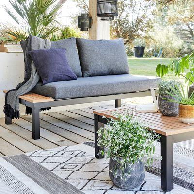 Méridienne de jardin en aluminium et eucalyptus - noir-DOLE