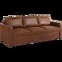 Canapé 3 places convertible en tissu marron vieilli-TINO