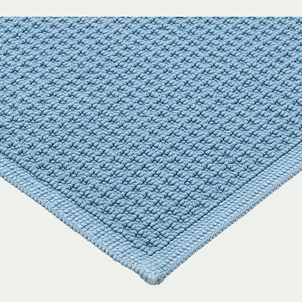 Tapis de bain en coton jacquard - bleu autan 50x70cm-Escapade