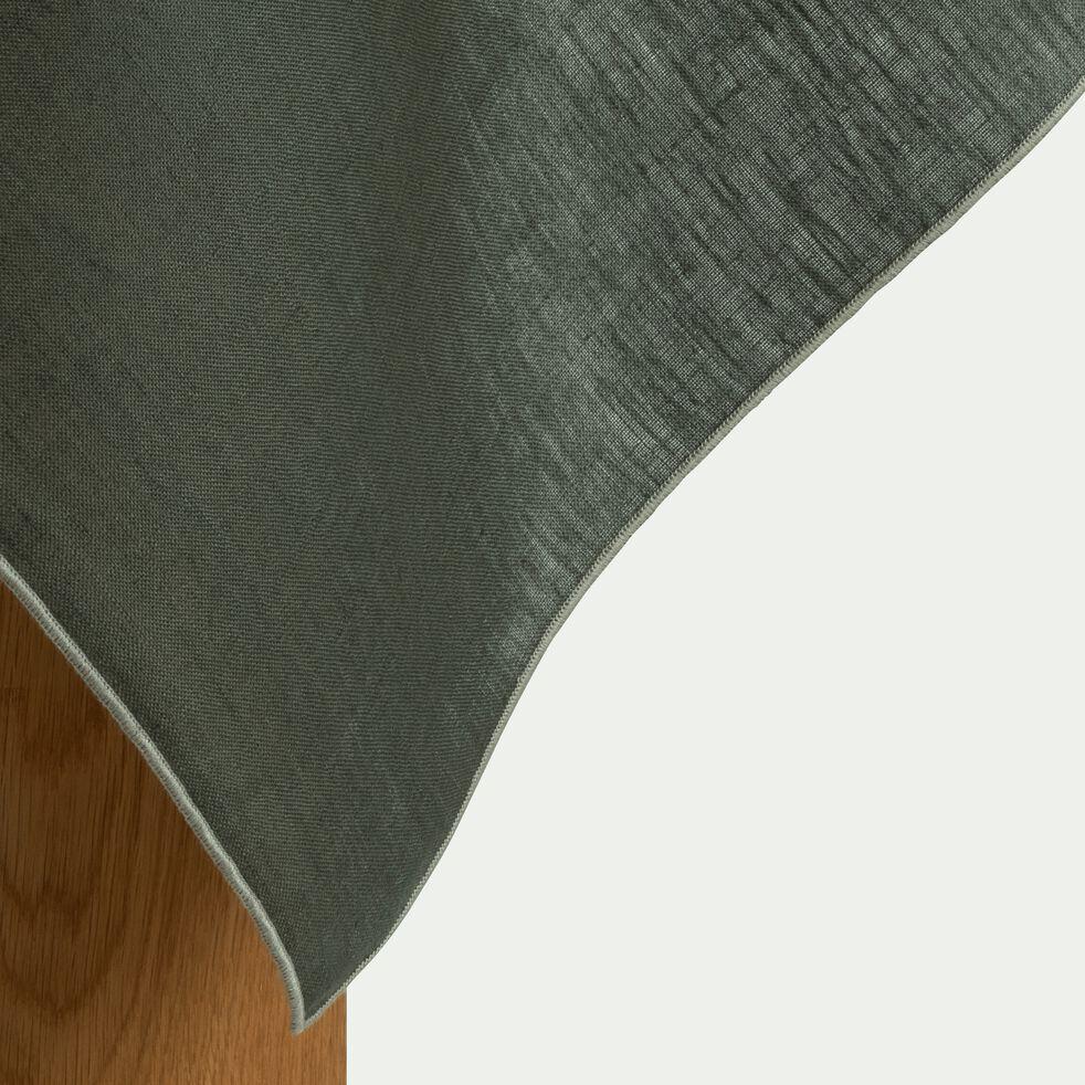 Nappe en lin et coton vert cèdre 170x250cm-MILA
