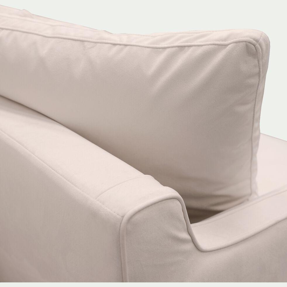 Canapé fixe 5 places en velours - beige roucas-LENITA