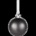 10 boules de Noël en plastique gris D6cm-BAUS