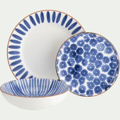 Assiette creuse en faïence blanc et bleu D20cm-PORTO