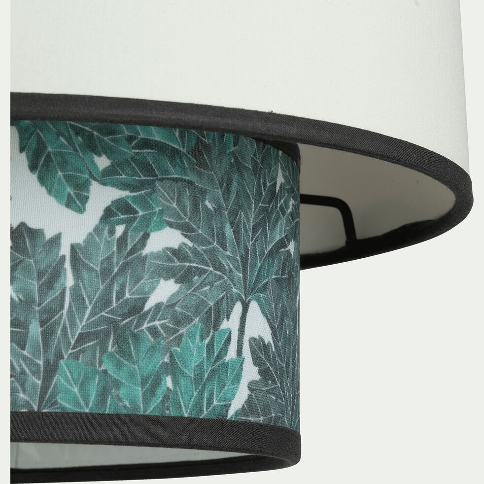Abat-jour en tissu blanc et motif végétal D30xH25cm-CORINTHE
