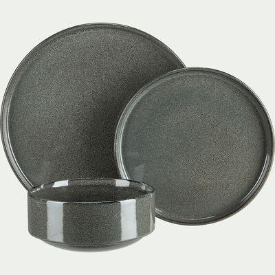 Assiette creuse en grès émail réactif - gris borie D15,5cm-PIETRA