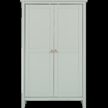 Armoire 2 portes avec structure et façade en pin massif vert olivier-LISON