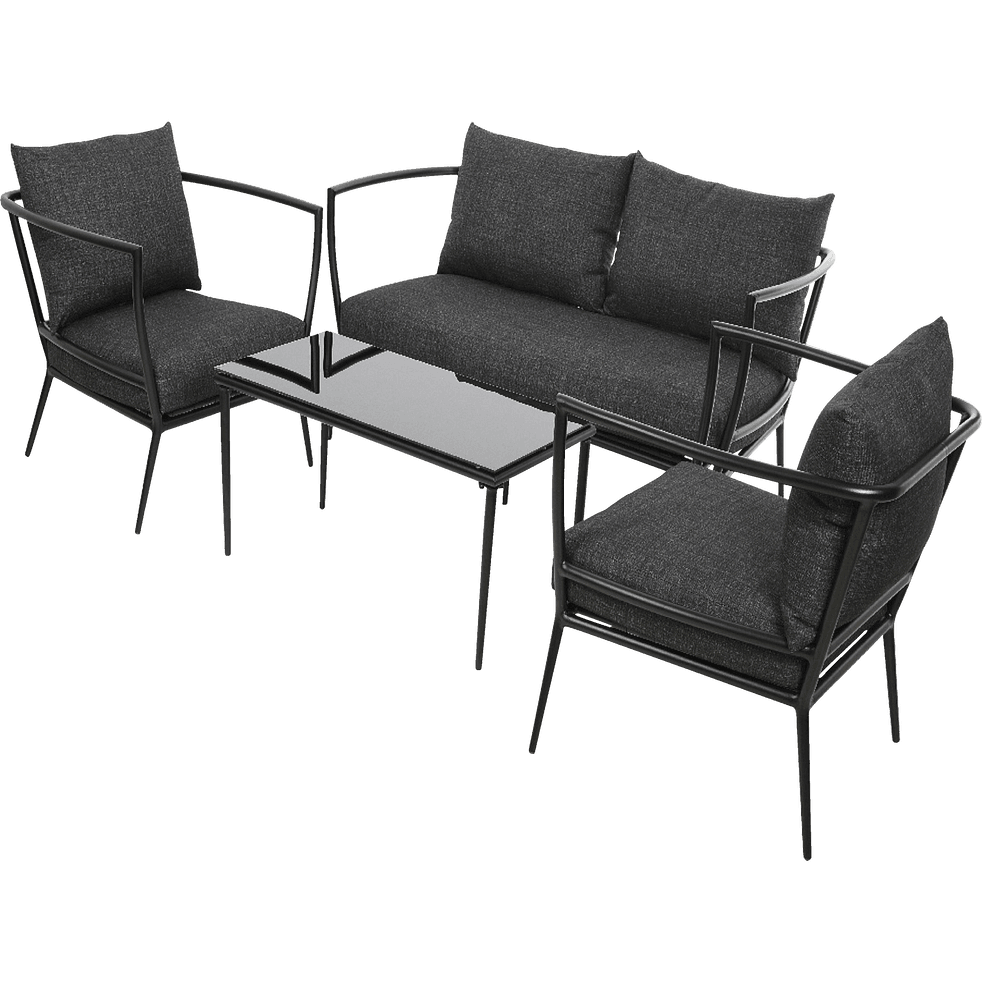 salon de jardin noir en aluminium 4 places milan. Black Bedroom Furniture Sets. Home Design Ideas