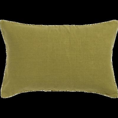 Coussin en lin lavé vert garrigue 40x60cm-VENCE