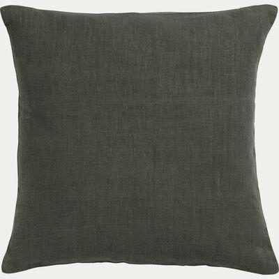 Coussin en lin lavé vert cèdre 45x45cm-VENCE