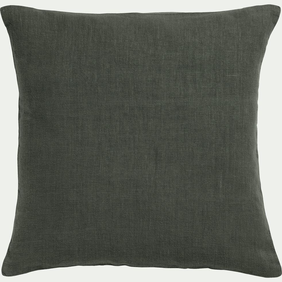 Coussin en lin lavé - vert cèdre 45x45cm-VENCE