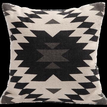 Coussin en coton motifs aztèques noirs 40x40cm-LIMA