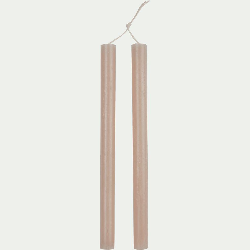 Bougie duo de flambeaux rose argile D2xH30cm-BEJAIA