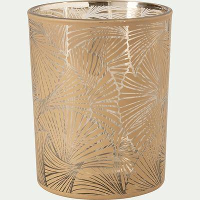 Photophore en verre motif palmier H12,5cm-Bagong
