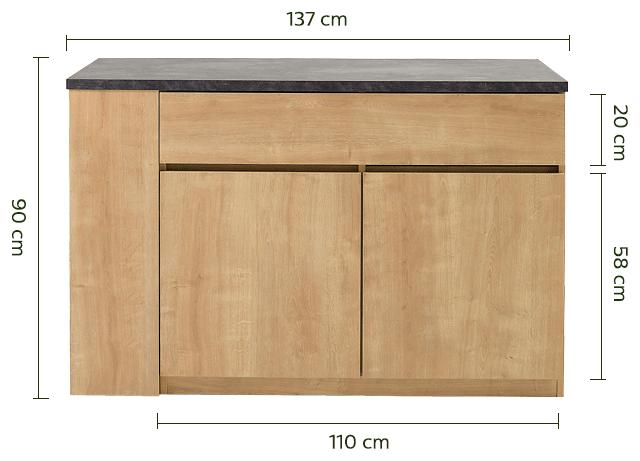 Bar îlot central rangement réversible - L140cm-GABIN