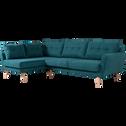 Canapé d'angle fixe gauche en tissu vert-ICONE