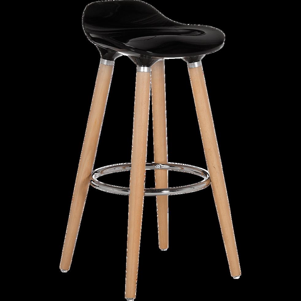Tabouret de bar noir avec pieds en hêtre massif-JADE
