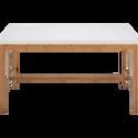Table de repas rectangulaire bicolore blanche et bois - 6 places-BULUH