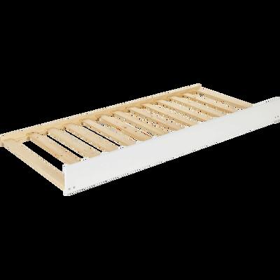 Tiroir de lit à roulettes en épicéa massif Blanc avec sommier - 90x200 cm-EXTENS