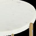 Bout de canapé rond en marbre blanc et pieds en laiton-ANSE