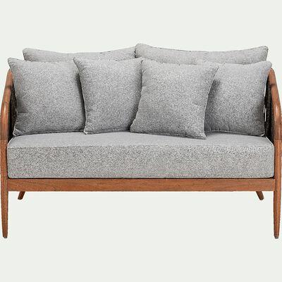 Canapé de jardin en eucalyptus effet teck - naturel (2 places)-NANS