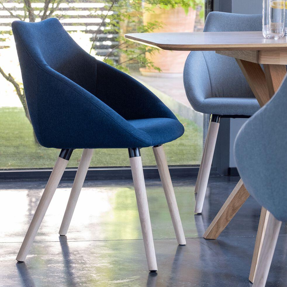 Chaise en tissu bleu foncé avec accoudoirs-NOELIE