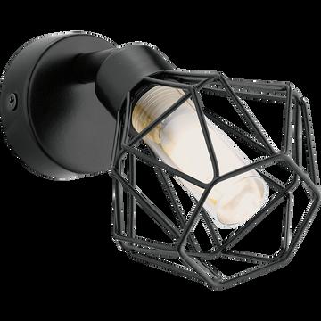 Spot applique en métal filaire noir 1 lumière-ZAPATA