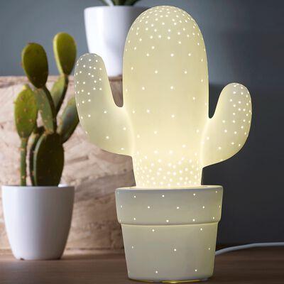 Lampe décorative à poser en céramique blanche H30.5cm-CACTUS