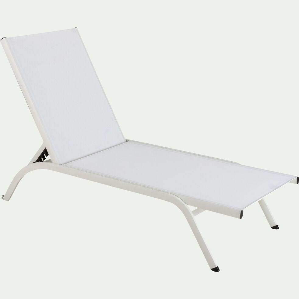 Bain de soleil en aluminium et textilène - blanc-MEGUI