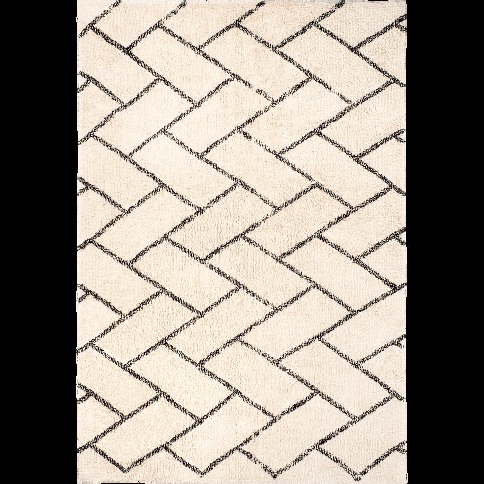 tapis inspiration berb re cru et noir 140x200cm barthelemy 140x200 cm grands tapis de. Black Bedroom Furniture Sets. Home Design Ideas