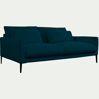 Canapé 3 places en velours - bleu figuerolles-SOZY