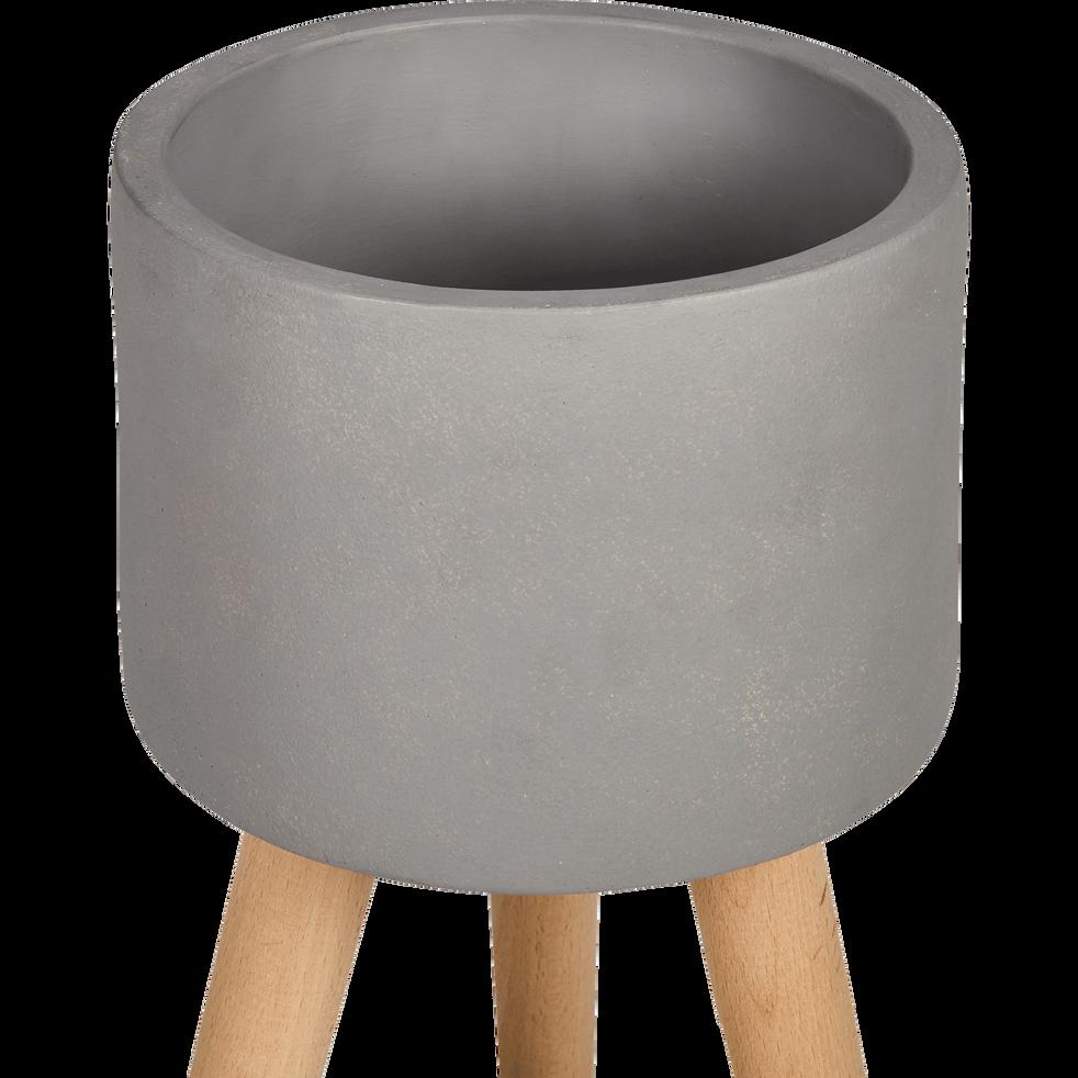 cache pot en pierre et bois h36xd25cm tamaris catalogue storefront alin a alinea. Black Bedroom Furniture Sets. Home Design Ideas