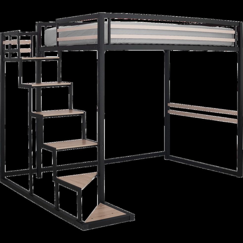 Lit mezzanine en acier Noir - 140x200 cm-HOME