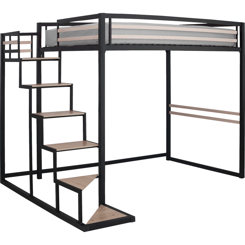 lit mezzanine en acier noir 140x200 cm home 140x200. Black Bedroom Furniture Sets. Home Design Ideas